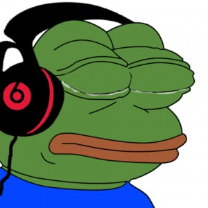 Create meme: The frog Pepe listens to music