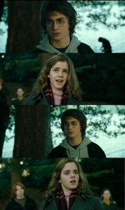 Create meme: harry potter memes , Harry meets up with Hermione, Harry Potter