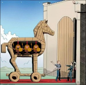 Create meme: the trojan horse, the American Trojan horse, cartoon Trojan horse