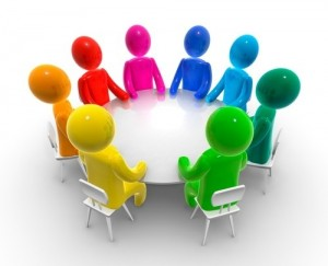 Create meme: a round table with people picture, round table meeting pictures, 3D men round table