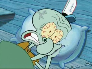 Создать мем: squidward sleep, squidward wake up, squidward angry