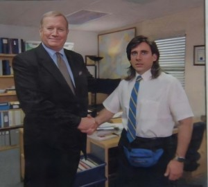 Create meme: michael scott with long hair the office, michael scott with long hair meme the office, young michael scott