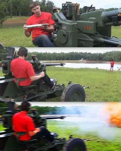 Создать мем: machine gun, the 40mm machine gun!!!, стрельба из пушки