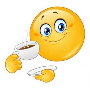 Create meme: start your day together meme, start your day smiley, smiley drinking coffee