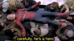 Create meme: careful he's a hero, spider meme, watch out for the hero