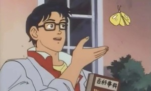 Create meme: meme with butterfly anime, is this a pigeon meme, is this a pigeon