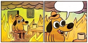 Create meme: yellow dog meme, dog in the burning house everything is fine, dog in heat meme