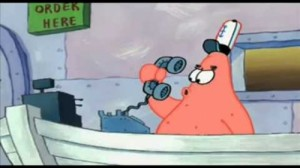 Create meme: Patrick and telephone