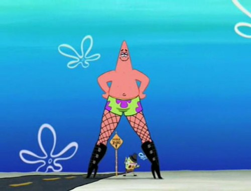 create meme patrick in boots and spongebob patrick in boots and