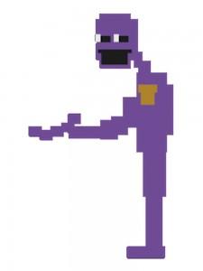 Создать мем: фиолетовый парень, фнаф фиолетовый человек из мини игры, перпл гай фнаф пиксельный