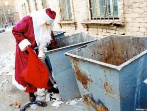 Создать мем: Santa Claus in the garbage can