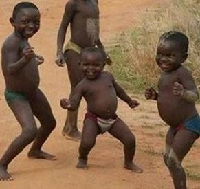 Создать мем: Happy african kids