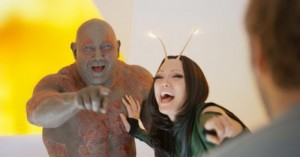 Создать мем: Drax and Mantis are laughing at The Guardians of the Galaxy Vol
