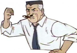 Create meme: J. Jonah jameson cartoon, J. Jonah jameson meme, spider-man J. Jonah jameson