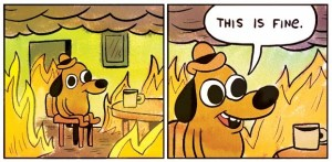 Create meme: this is fine dog , dog in the burning house meme, this is fine